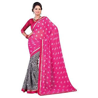 Firstloot Pink Color Faux GeorgetteCrape Printed Casual Wear Saree