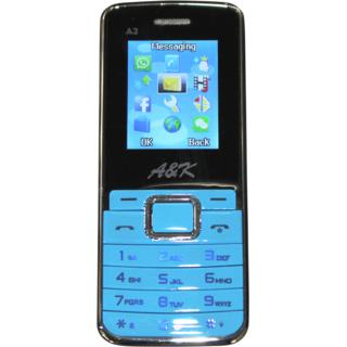 AK A2 Mobile Blue Black ( Metal body / 1200 mah battery / earphone)