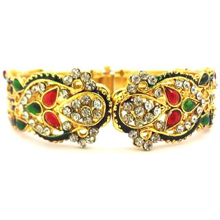 Red & Green kundan with Meenakari Work kada