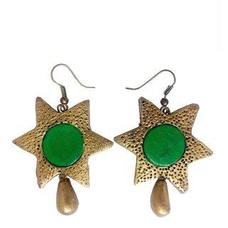 Mishti Creations Green & Golden Color Traditional Handmade Terracotta Earring
