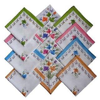 Sofia 100% Cotton Flower Print Ladies Handkerchiefs - Set of 12