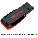 PACK OF 4 SANDISK 16GB CRUZER BLADE PEN DRIVE