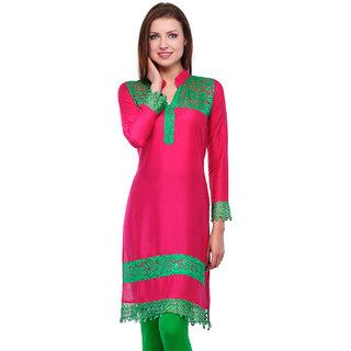 Sukuma Green Printed Yoke Pink Rayon Kurti