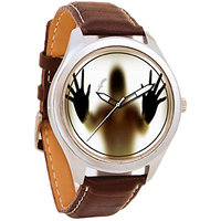 Foster'S Round Dial Brown Leather Strap Quartz Watch For Men