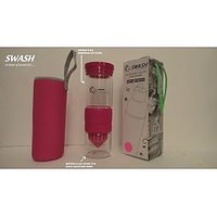 SWASH BPA Free Glass Bottle With Inbuilt Dual Hand Juicer Cum Shaker (MAROON)