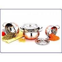 Mahavir 3pc Cross Copper Cook & Serve Cookware Set