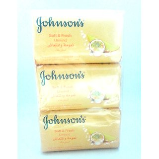 set of 3 Johnson's Soft  Fresh Unwind Soap 125g