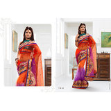 Violet & Rani Coloured Indian Bollywood Designer Saree