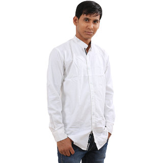 Indiweaves Mens White Regular Fit Casual Shirt