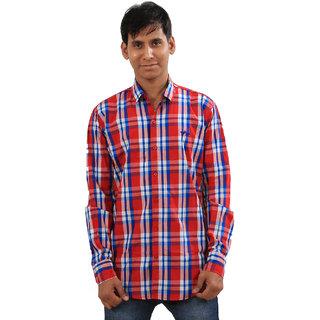 Indiweaves Mens Red Regular Fit Casual Shirt