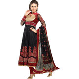 Fabdeal Black & Red Colored Net Semi-Stitched Anarkali Salwar Suit DEEDR5105MAPOD