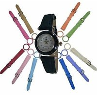 Round Dial Multicolor Fabric Strap Womens Watch