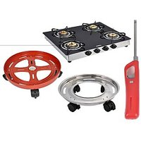 Gloria 4 Burner Gas Stove Combo (Cylinder Trolley And Gas Lighter)
