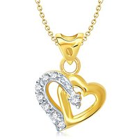 Vina's One Love Heart Shaped Gold and Rhodium Plated Pendant