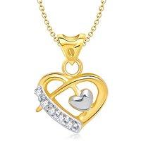 Vina Beauteous Heart Shape Gold And Rhodium Plated Pendant