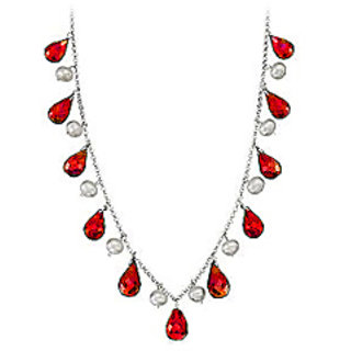 Forty Carat Ruby Teardrop Necklace with Cultured Pearl Set in 14K White Gold Chain available at ShopClues for Rs.26575