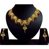 FASHION DESIGNER GOLD PLATED BRIDAL NECKLACE SET WITH EARRINGS
