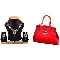 The Pari Necklace Set(ey-09) with Free Red Handbag