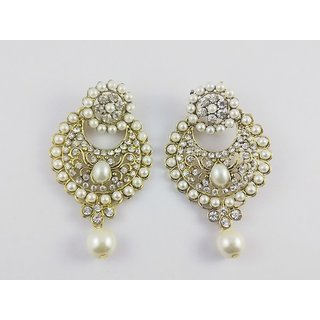 Beautifull pair of festive dangler earrings with pearls  zircon