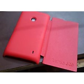 Nokia Lumia 520 Leather Flip Cover Case and Hard Back Cover - Red