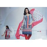 Sadaa Jugni Unstitched Designer Suit 005GR Greyish-Blue & Red