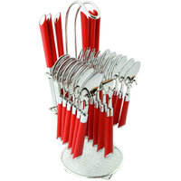 Elegante Expression Red Look Cutlery Set - 24 Pcs With Stand