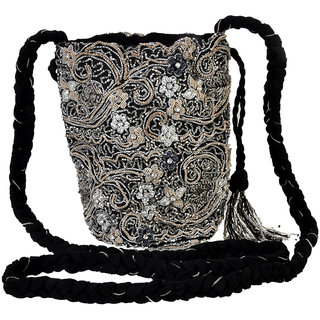 Diwaah!! SILVER E,bellished lady potli bag