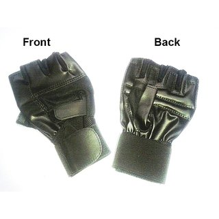 Leather gym glove with long wrist wrap