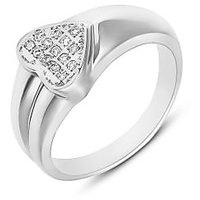 Mahi Rhodium Plated Shinning Heart Fingering With Cz For Women Fr1100105R