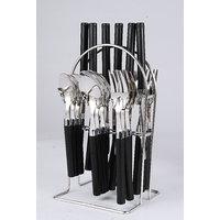Elegante Opera Black Look Cutlery Set - 24 Pcs With Stand