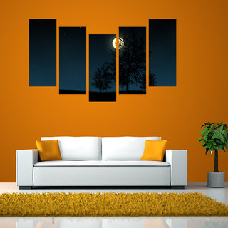 Moon Light like Modern Wall Art Painting  5 Frames 148 X 76 Cms 5Frames0066