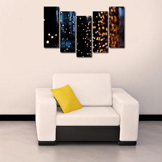 Yellow Light like Modern Wall Art Painting  5 Frames 148 X 76 Cms 5Frames0101