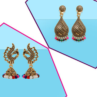 Silver Shine Partywear Traditional Gold plated Elegant Earrings combo set pair of 2 for Girls and women Jewellery
