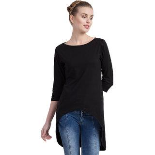 Cliths Women's Cotton Slim Fit Back Long Tunic Dress/ Tshirt Dress (Black_Small)