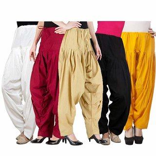 Womens Pure Cotton Plain Semi Patiala Dhoti Salwar Indian Pants...