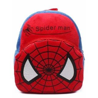 PROERA Spiderman Velvet School Bag for Nursery Kids, Age 2 to 5 Waterproof Plush Bag (Red, 14 inch)
