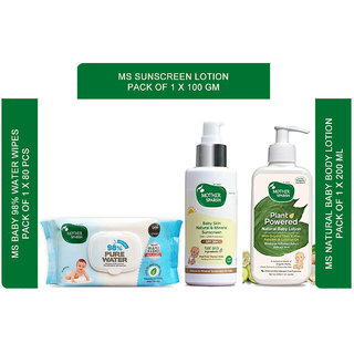 Mother sparsh baby soft and sensitive skin care regime with water based wipes