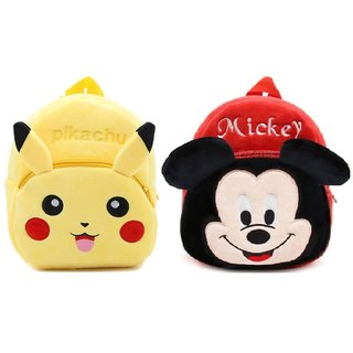 Proera Mickey And Pikachu Velvet Nursery Bag Combo Red Yellow - 14 Inchesu