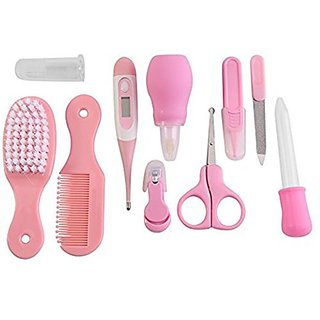 SYGA Premium Quality 10 Pcs Health Care Kit for Newborn Baby Kids Nail Hair Thermometer Grooming Brush(Pink) (Pink)