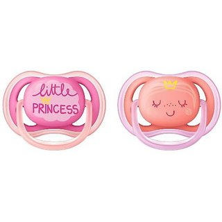 Philips Avent Ultra Air Pacifier for Girl, 6-18 Months, Pink Fashion decos, 2 Pack Soother (Pink)