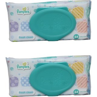 Pampers Fresh Clean Baby Wipes Combo Pack Of 2 pcs (Per Pcs 64 Wipes) (2 Wipes)