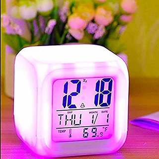 Smart 7 Color Changing Clock Cube Desk Night Table Alarm Clock Glowing Digital Alarm Clock LED Watch