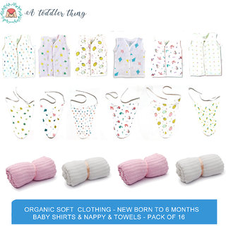A Toddler Thing - Organic Soft Clothing - New Born to 6 months Baby Shirts Nappy Towels - Pack of 16