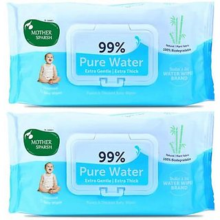 Mother Sparsh Unscented 99 Pure Water Wipes (72 Baby Wipes, Pack of 2) (72 Wipes)