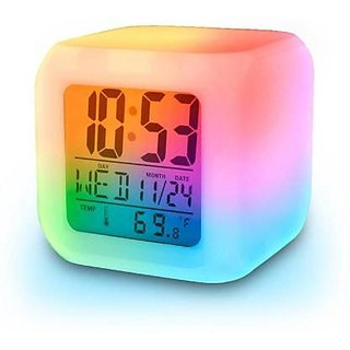 7 Color Changing Clock Cube Desk Night Table Alarm Clock Glowing Digital Alarm Clock LED table watch