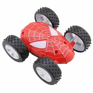 RNY Spiderman Car Toys for Kids Boys Two Sided Push Motion Car Push and Go Stunt Car (Multicolour)