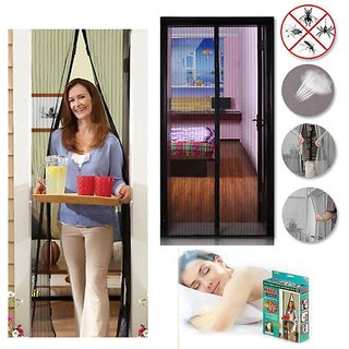 Polyester Mosquito Screen Curtain for Main Doors, Balcony Mesh with Magnets (Black, 210 x 110 Cms)
