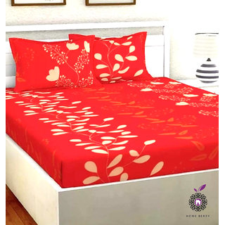 Home Berry Microfiber Red 3D Printed 144 TC Double Bed Sheets With 2 Pillow Covers (5 X 7 FT)