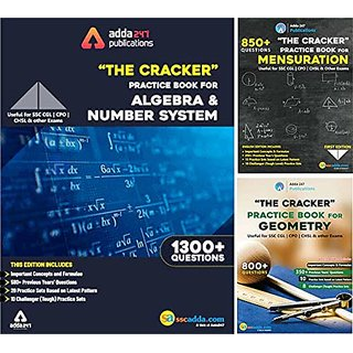 The Cracker Practice Book Kit (Algebra Number System + Geometry + Mensuration) English Edition by Adda247 Publications