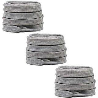 SIA VENDORS 3 Pair Super Quality Flat Athletic Shoelaces With Wide Shoelaces Flat Shoe Laces Shoe Lace Grey